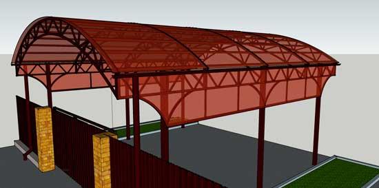 3D модель навеса из поликарбоната