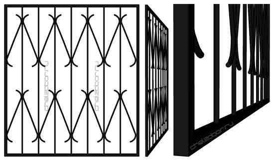 Решетка на окно с S образными элементами