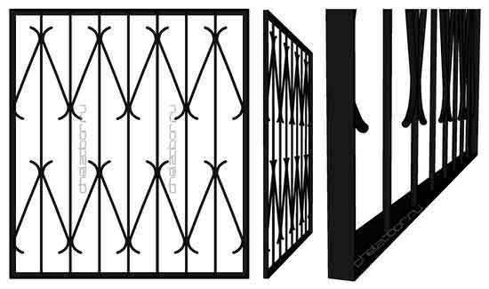 Решетка на окно в уголке с S образными элементами