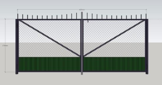 Купить ворота комбинированные из сетки рабицы и профнастила